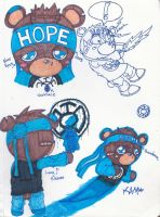 Blue Lantern Lil' Bear Sketches by RageTheHedgehog