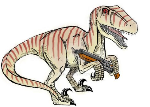 Velociraptor with a Shotgun by darazan