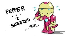 Sneezy Iron Man by MontyGluDevair