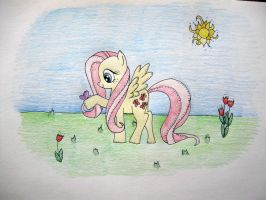 First MLP attempt - Fluttershy with Butterfly by Avrienne