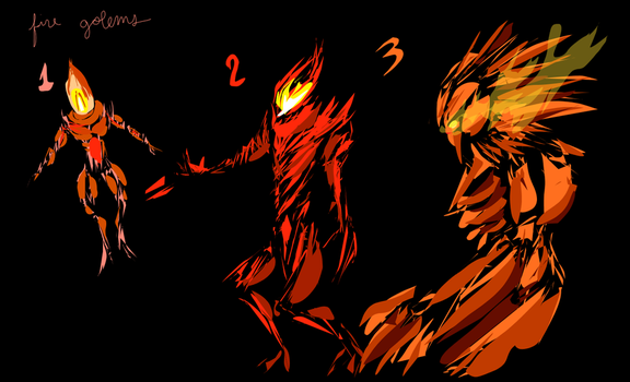 Fire Golem Vector Concepts by NinjaPigProductions