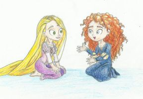 Chit-chat ~ Merida and Rapunzel by Xijalle