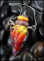 Fire Lotus - Glass Lampwork Bottle Pendant by andromeda