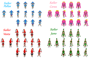 Sailor Quartetto Sprites by SailorPhantom