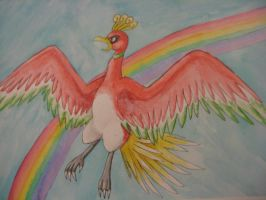 Ho-oh Watercolor by nin10do-gamer