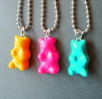 Rainbow Gummy Bear Necklaces by AsianBunni