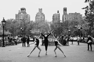 ballerinas in washington square park, nyc by gunthegun