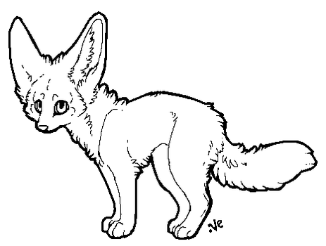 Fennec fox lineart by Velyra