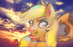 AJ in sunset ( that's not clop, breh ) by Lightning-Dart