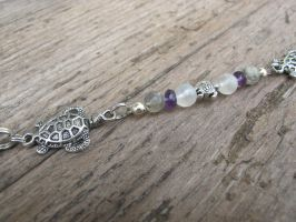 Silver and Shell Turtle Hair Dangle Closeup 3 by Windthin