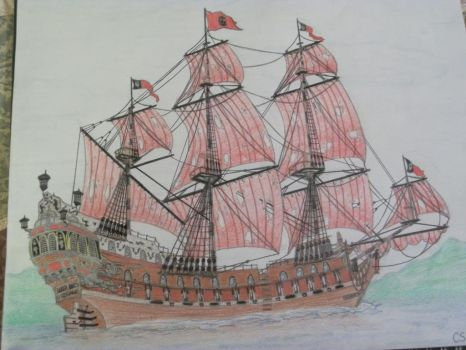 The Queen Anne's Revenge (colored and updated) by PirateoftheCaribbean
