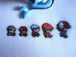 Cross stitch Pokemon trainer's evolution by Miloceane