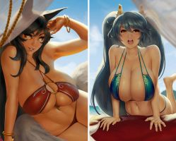 Ahri and Sona by EU03
