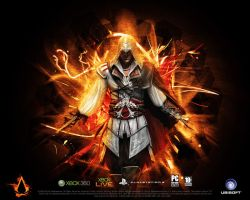 Ezio Through The Flames by Requiem-K