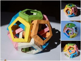 Six Pentagonal Prisms by one-film-one-drawing