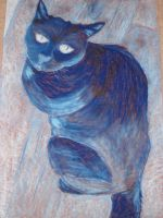 Blue chalk cat by boriales