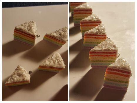 Polymer Clay Kawaii Rainbow Cake Charms by Zen-In-Motion