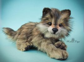 Handmade Poseable Wolf Cub ETSY commission by MalinaToys