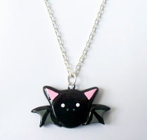 Lil' Black Bat Necklace Charm by Lilyanora