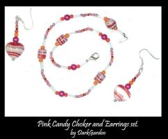 Pink Candy Necklace n Earrings by darkgarden