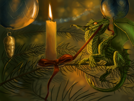 Dragon's First Christmas Commission by x-Celebril-x