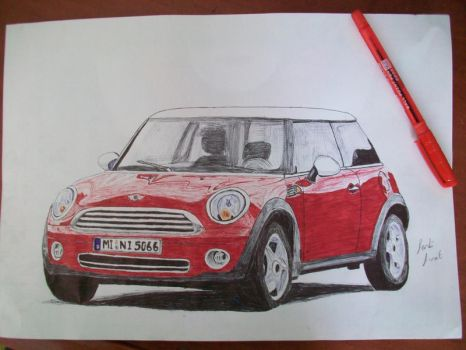 Mini Cooper - pen drawing by vexilloid