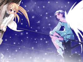 Anime Snow Angel n Little Girl by Glacion