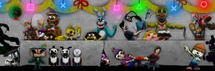 FNAF and PlayStation Christmas Party by Playstation-Jedi