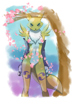 June Patreon Supporter sketch ~ Renamon by FishSaucePisces