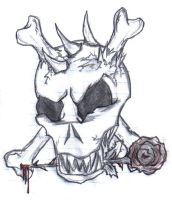 Skull with CrossbonesRose by Nemesis-of-the-Gods