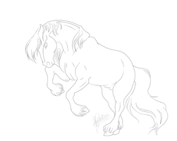 Draft Horse Stallion Lineart by SaddlePatch