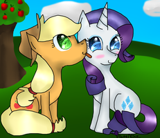 Applejack Licking Rarity by xCuteiKinz