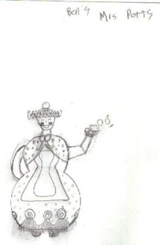 Mrs. Potts Costume Sketch BW by boonedaba1991