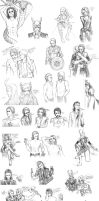 Avengers + Loki Sketchdump (Well, mostly Loki) by ShadowsIllusionist