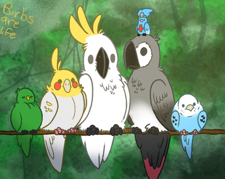 Paint Along: Birbs are Life by Dr-FuzzNote