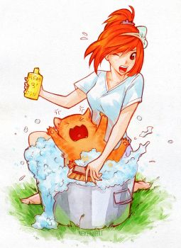 Bath time! by nakanoart