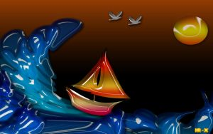 Sail Boat Vs Water Wave by IRXDESIGN