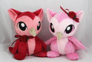 Valentine's Day Owl-Kittens (for sale!) by MagnaStorm