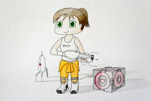 Chibi Chell Watercolor (Portal 2) by Anths95
