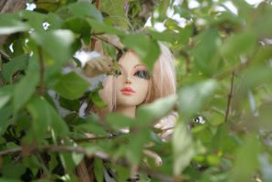 712 - Ayla hiding behind the trees by beedoll