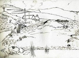 cottage at Portnacon with poles by merearthling