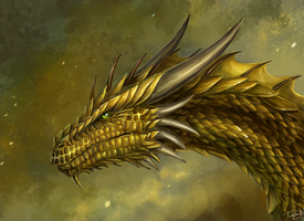 Golden Dragon Head Commission by x-Celebril-x