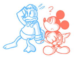 Detailed Mickey and Donald Sketch by JamesmanTheRegenold