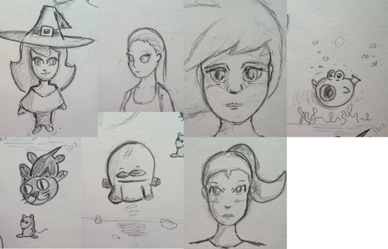 Traditional sketchbook doodles by suibne