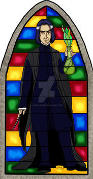 Stained Glass Wizarding Saint Snape by Yunie-B