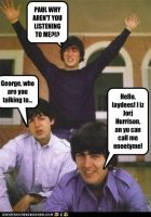 Worried John, Confused Paul, and Ladies Man George by TheOriginalBeatleBug