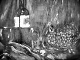 still life with grapes- black and white version by ginger1107
