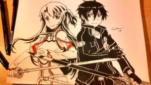 Kirito and Asuna - Sword Art Online by Raptchur