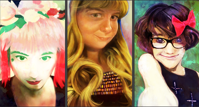 My Daughters a Triptic Digital Painting of selfies by Richtoon