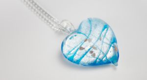 Murano Glass Silver Blue Heart Pendant by LypticDesigns